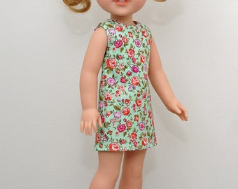 14 inch Doll Clothes-Wildflower Collection-Green Floral Sleeveless Dress