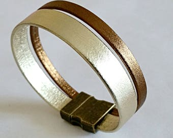Bronze and gold metallic leather double leather bracelet, bronze colored metal magnetic clasp