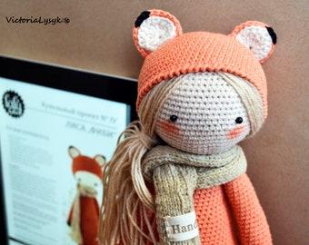 Fiby the fox doll / Handmade doll / Handmade toy / Stuffed doll / Amigurumi fox / Art doll / Baby shower doll / Crochet fox / Knitted doll