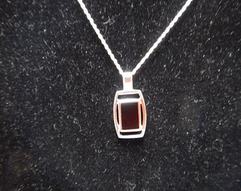 Silver 925 Black Tourmaline Stone Necklace, Silver Stamped 925,Thailand Pendant w/ 925 Italy Sterling Silver Chain, Energy Stone Necklace,
