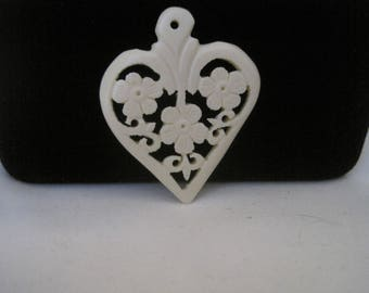 White Filigree Heart Pendant