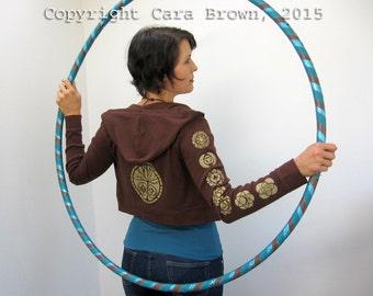 Chakra Hoodie Sacred Geometry cropped zip up womens hooded sweatshirt Om tree lotus brown and gold
