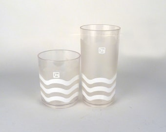 Vintage Plastic Drinking Glasses / Set of 16 / Clear Frosted Decorated Highball Glasses Chevrons Stripes, Kitchen Bar Decor / 3x6