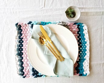 Place mats - Hand woven placemats - Colorful placemats - Small woven placemat - Recycled T shirt mats by Binbin - Blue pink multi