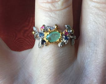 Vintage EMERALD RUBY SAPPHIRE Gold & Sterling Ring - Unique Design - Natural Emerald - Sterling silver - Beautiful Vintage - from France
