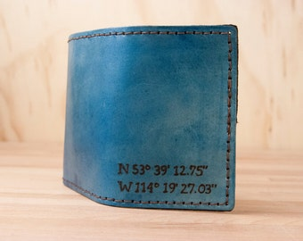 Custom Latitude Longitude Wallet - Personalized Mens Leather Trifold Wallet in the Find Me Here Pattern - GPS Coordinates in Blue