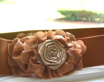 Flower cinch belt, Wide elastic stretch corset belt, Brown belt ,one size