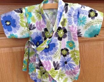 Flower Baby Kimono, Baby Kimono Onesie, Baby Kimono Bodysuit, Baby Kimono, Baby Jinbei,  0-3 Mo, 3-6 Mo, 6-12 Mo