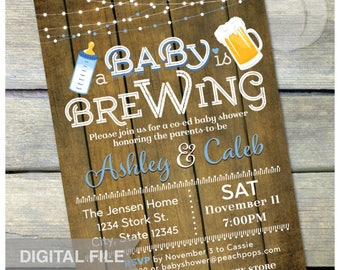 "A Baby is Brewing Invitation Beer Baby Shower Blue Co-ed Couples Party Rustic Wood Style - DIGITAL Printable Invite - 5"" x 7"""