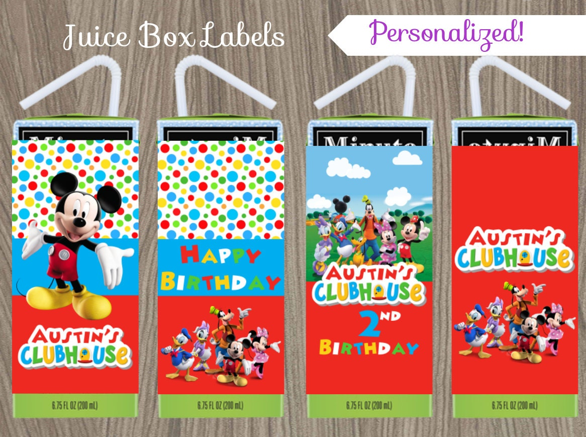 Mickey Mouse Juice Box Labels Mickey Mouse Birthday Mickey