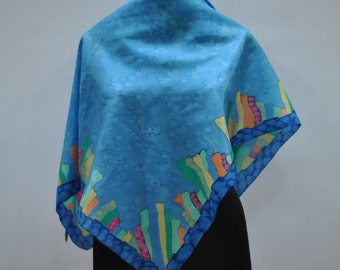 Vintage HANDMADE silk scarf , hand dyed scarf...(503)