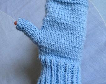 Blue Knit Gloves, Texting Gloves, Blue Wool Gloves, Ladies Gloves, Knit Fingerless, Knit Wrist Warmers, Hand Knit Gloves, Womens Gloves