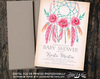 Dream Catcher Baby Shower Invitation | Printed OR Printable Digital File DIY | Dreamcatcher Bohemian Watercolor Boho Baby Shower Invitation