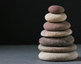 Zen Stone Cairn - Meditation Altar - Stress Relief Gift - Mindfulness - Balance Sculpture - Baltic Sea Pebbles