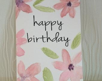 Watercolor Card, Birthday Card, Anniversary Card, Original Painted Card, Watercolor Flowers, Original Watercolor, Handpainted Card