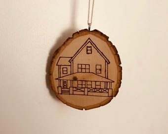 A Christmas Story House Pyrography Tree Ornament