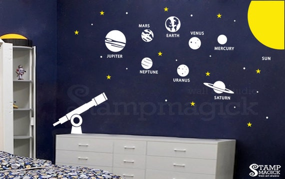 Solar system wall decal outer space theme planets vinyl for Outer space vinyl wall decals