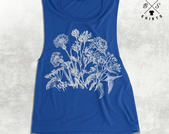 10% OFF SALE, Womens Flower tank Top, Wildflower shirt, floral tank top, muscle tanks, gym tank, workout, spring shirt