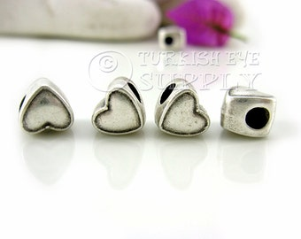 5 Pc  Silver Heart Slide Charms, Silver Heart Spacer Beads, Turkish Jewelry