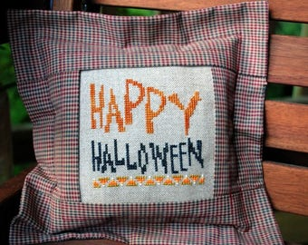 """Halloween Cross Stitch Instant Download Pattern """"Happy Halloween"""" Counted Embroidery X Stitch Hallows Eve Design Pillow or Frame"""