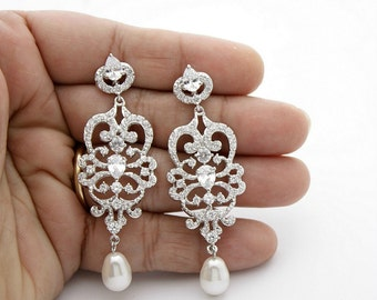 Chandelier Earrings Bridal Vintage Style Crystal Wedding Earrings Cubic Zirconia Bridal Jewelry Long Pearl Drop Earrings, Victoria