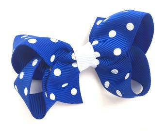 Blue polka dot hair bow - blue hair bow, toddler bow, 3 inch blue bow, boutique bows, blue hair bows, girls hair bows, baby bows, hair bows