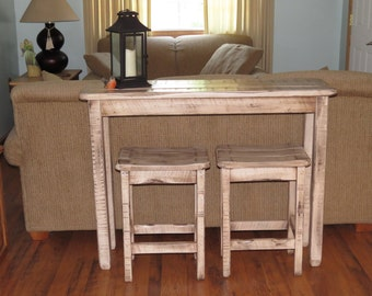 Farm House White Distressed Glazed Shabby Chic Sofa Table Breakfast Bar  With 2 Bar Stools