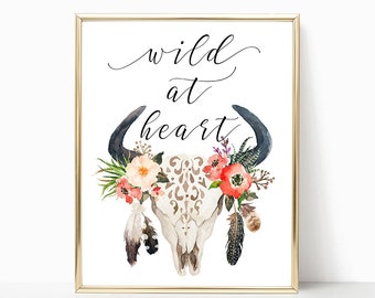 Wild At Heart Digital Print Instant Art INSTANT DOWNLOAD Printable Wall Decor