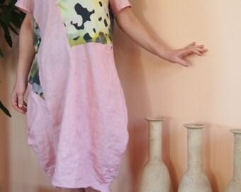 Linen Dress Short Sleeve Linen Dress & Nara LR004