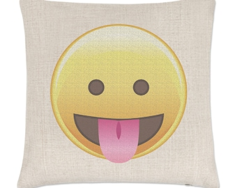 Tongue Out Eyes Open Emoji Linen Cushion Cover