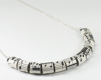 Sheet Music Necklace- Paper Bead Jewelry, Vintage Sheet Music Paper Bead Necklace, Music Jewelry, Music lover Gift, Paper Jewelry