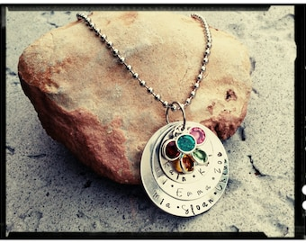 Mother Charm Necklace - Childrens Names & Birthstone//Hand Stamped Charms//Nesting Charms -Stainless Chain/Swarovski Crystal - Mother's Gift