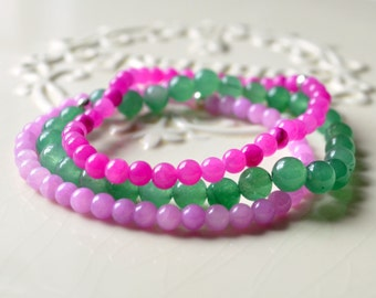 Jade Bracelets, Stretch, Set of Three Stacking, Colorful, Orchid Purple, Magenta, Green Beads, Elastic, Sterling Silver Jewelry