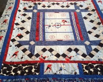 Homemade Hockey Quilt