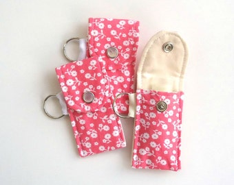 Lip balm holder Lip balm Keychain in a Coral pink calico, Little things, Mother's day gift Girlfriend gift Teacher gift for her under 10