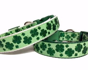 Clover Leaf St. Patrick's Day Dog Collar, Glitter, Irish, Dog Gift, Pet Gift,