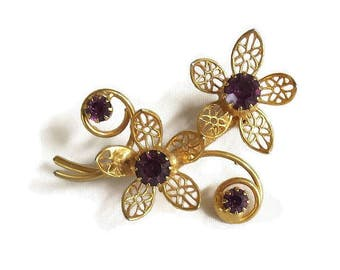 Purple Rhinestone Filigree Flower Brooch Vintage Dainty