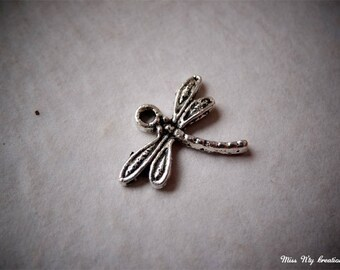 5 silver metal Dragonfly beads