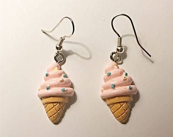 Strawberry Ice Cream Cone Earrings
