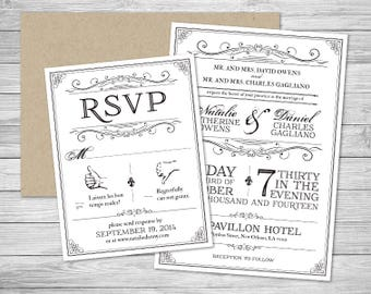 Formal Wedding Invitation Suite with Reply Card and Envelopes - Fleur De Lis - New Orleans Louisiana - Black and White - SHIPPING INCLUDED