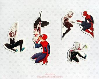 Spider-Gwen and Spiderman sticker set of 4