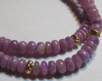 NATURAL Lavender Pink Sugilite and Gold Filled Beaded Necklace   ...........     e990