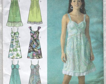 """Sz H5 6 8 10 12 14 Bust 30.5""""-36"""" Simplicity Easy to Sew Sewing Pattern 4119  Dress with  Empire Waist and Strap and Hem  Variations  Woven"""