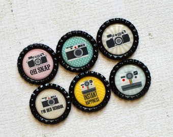 Photographer Gift- Camera Bottlecap Magnets- Photography Magnets- Camera Gift- Vintage Camera- Photography Gift- Camera Decor- Retro Camera
