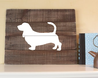 Basset Hound Silhouette - Reclaimed Wood Sign