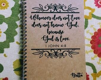 "Personalized Journal, ""God is Love"" 1 John 4:8"