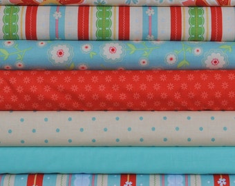 Delighted 7 Fat Quarters Bundle by The Quilted Fish for Riley Blake, 1 3/4 yards total