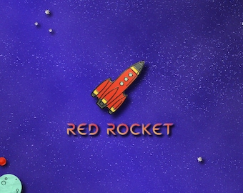 Red Rocket Space Enamel Pin