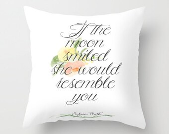 Sylvia Plath Literary Pillow - Floral Bookish Pillow