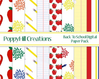INSTANT DOWNLOAD ~ Printable Back To School Digital Paper Pack - For Commercial or Personal Use - Digital Design
